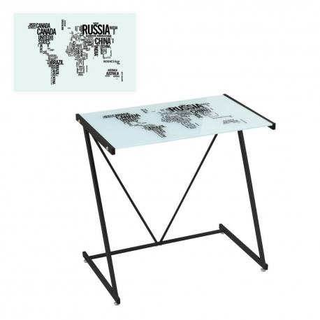 Mesa de escritorio de cristal negra moderna para for Mesa escritorio moderna