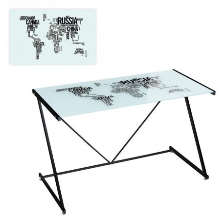 Mesa de escritorio de cristal negra moderna para for Mesa cristal ikea escritorio