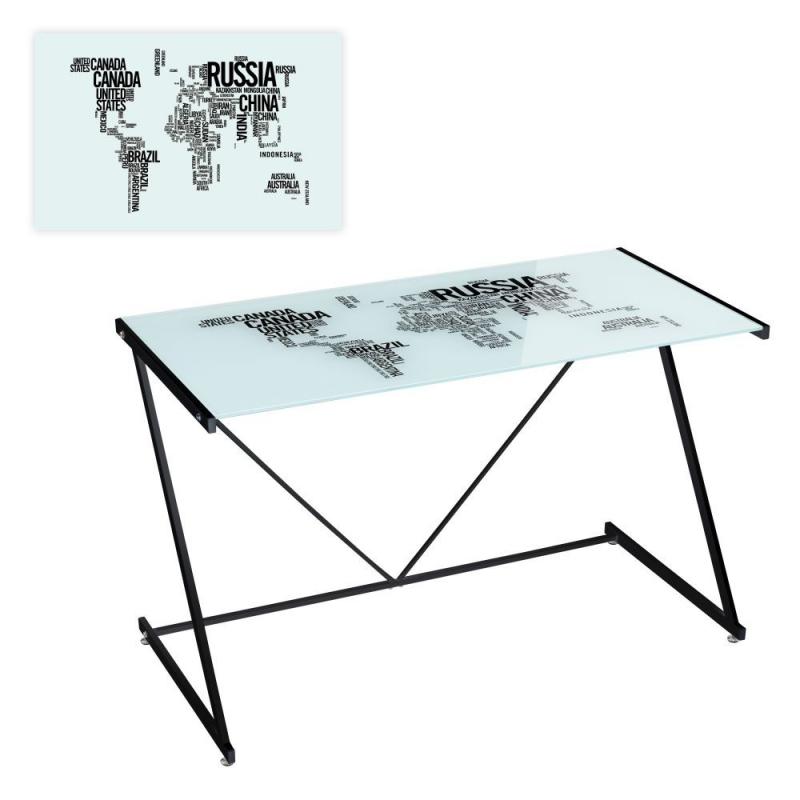 Mesa de escritorio de cristal negra moderna para - Mesas para dormitorio ...