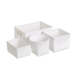 Set 4 cestas organizadoras moderna polipropileno blanco