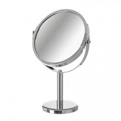 Espejo de 2 aumentos plateado clásico de metal para baño Basic