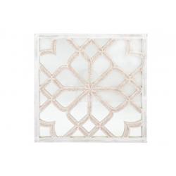Mural tallada blanco rozado con espejo étnico 90x90 cm