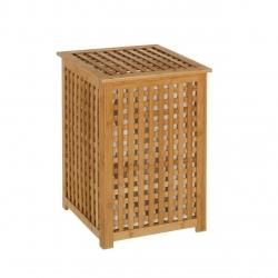 Cesto de ropa nórdico marrón de bambú para cuarto de baño Basic