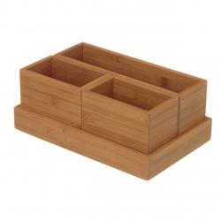 Organizador de diseño nórdico marrón de bambú para cocina Basic