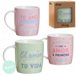 Set 3 taza ceramica romanticos TE AMOR en caja de regalo