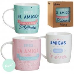 Set 3 taza ceramica AMIG@S en caja de regalo