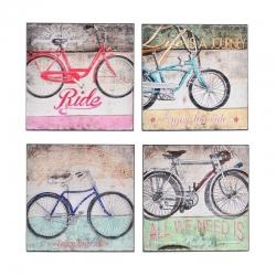 Pack 4 Cuadro bicicleta envejecido para decoración