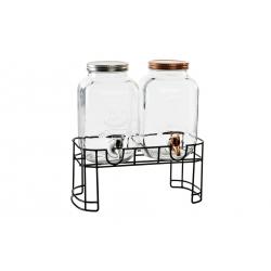 Dispensador doble con soporte para bebidas cristal con grifo para 4 litros .