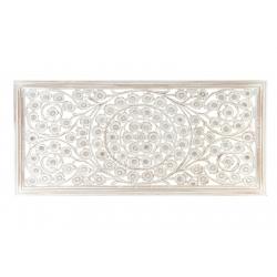 Mural tallado natural lavado blanco de madera para decoración 120x60 cm .