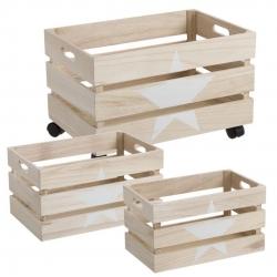 Juego 3 cajas multiusos modernas con estrella natural de madera