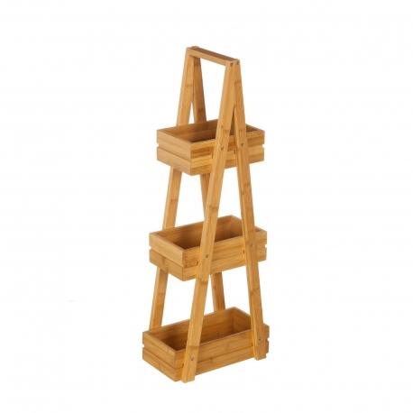 Estantería de 3 cestas nórdica marrón de bambú para baño Sol Naciente