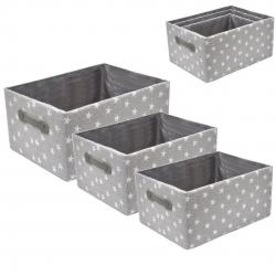 Juego de 3 cestas estrellas gris .