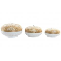 Juego de 3 cestas mandala con tapa de bambu