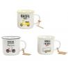 Tazas vintage porcelana frase 375 cc (Set de 3 tazas)