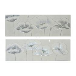 Set 2 cuadro lienzo amapolas plateado 2 modelo 150x50 cm