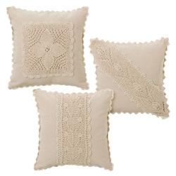 Cojínes romantico reborn algodon natural beige 40x40 cm