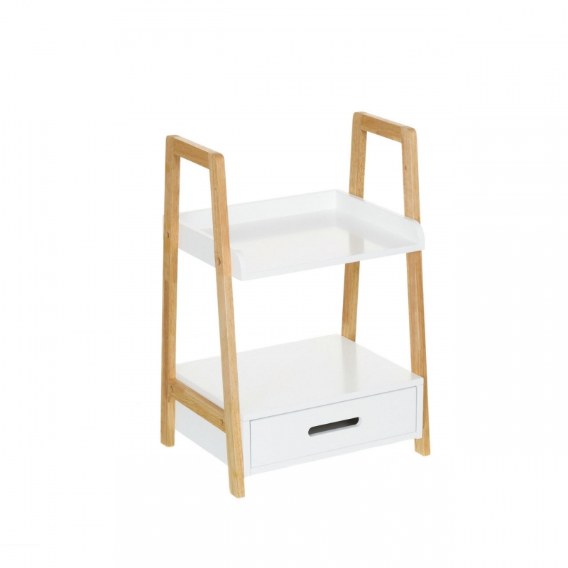 Estanter a de 1 caj n n rdica blanca de bamb para cuarto for Estanterias de bambu para bano