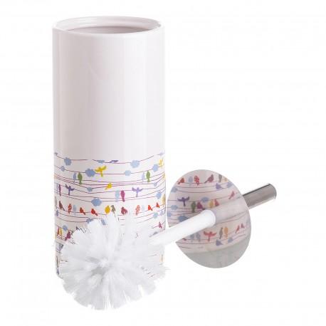 """Escobilla de baño multicolor de cerámica.pajaros """"cuco"""" 10 x 10 x 32 cm ."""