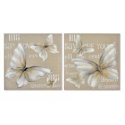 Set 2 cuadro lienzo mariposa 60x60 cm