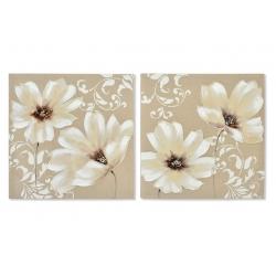 Set 2 cuadro lienzo flores 60x60 cm