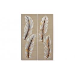 Set 2 cuadro lienzo pluma 120x40 cm