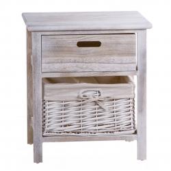 Mueble madera 1 cajon y 1 cesta minbre .
