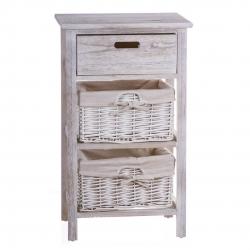 Mueble madera 1 cajon y 2 cesta minbre .