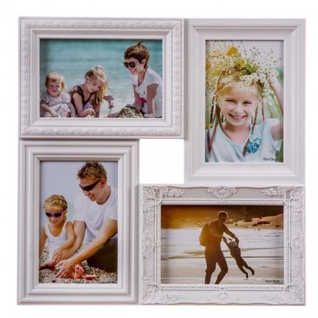 Portafotos múltiple blanco para 4 fotos .