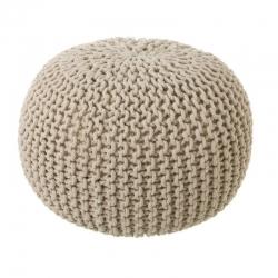 Puff trenzado de algodón beige nórdico para salón Vitta