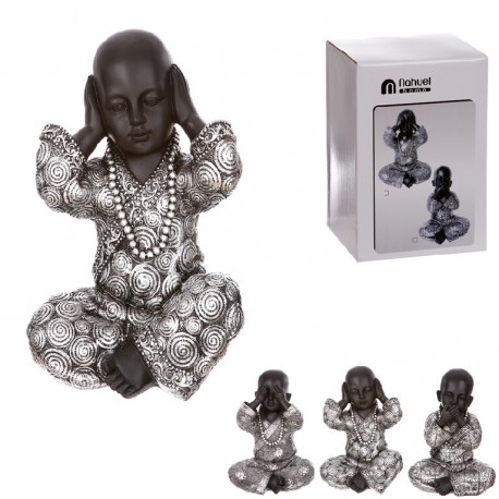 Monje de suerte resina (ver , oir , callar ) 10 cm Pack 3 figuras