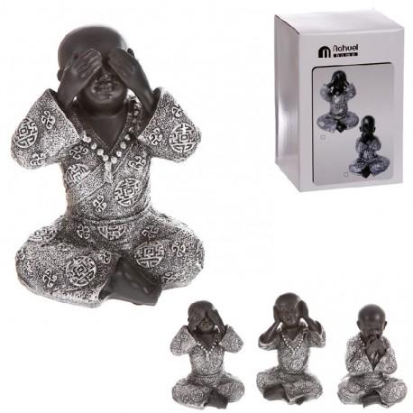 Monje de suerte resina (ver , oir , callar ) 20 cm Pack 3 figuras