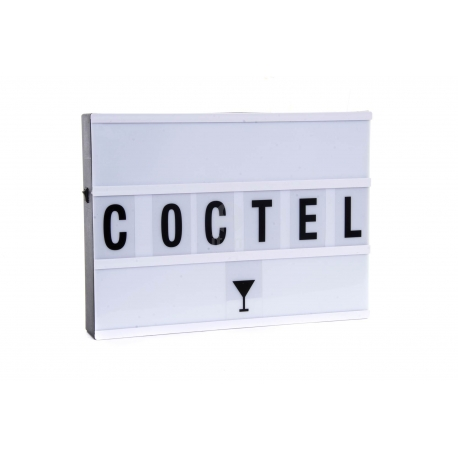 Caja de luz Lightbox A4 color negra con 85 letras .