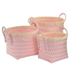 Juego de 3 cestas poliester bambu rosa .