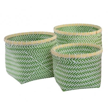 Juego de 3 cestas poliester bambu verde .