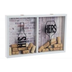 Caja guardacorchos y tapones madera y cristal 40x4x26 cm