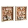 Set 2 caja guardacorchos y tapones madera y cristal 22x4x26 cm