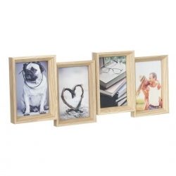 Portafotos multiple 4 fotos de madera