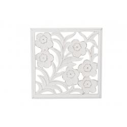 Mural romántico blanco de madera floral