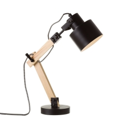Lámpara flexo de madera negra de diseño industrial para salón Factory
