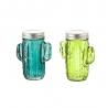 Set 2 tarro cactus de led vidrio verde