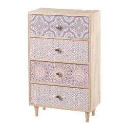 Joyero de madera con 4 cajones rosa romántico para dormitorio Arabia
