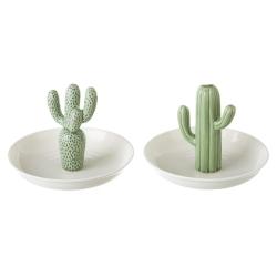 Plato joyero cactus verde stoneware - Set 2 pieza