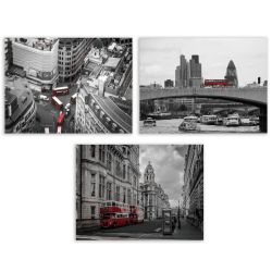 Set 3 cuadro lienzo city 40x30 cm
