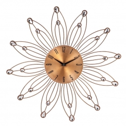 Reloj de pared metal flor cobre romantico 49x49 cm