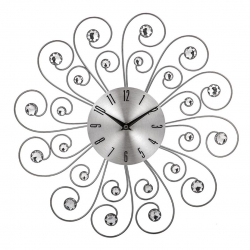 Reloj de pared metal plata espiral 40x40 cm