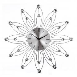 Reloj de pared metal plata flor 49x49 cm