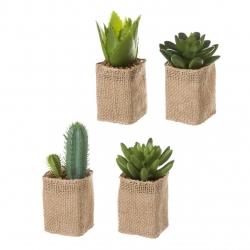 Cactus artificial en maceta en tela de saco .