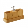Accesorios de baño nórdicos marrones de bambú para cuarto de baño Sol Naciente