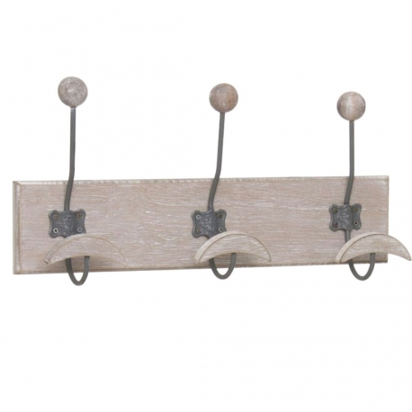 Perchero pared 3 colgador madera natural