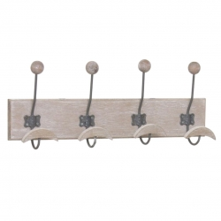 Perchero pared 4 colgador madera natural